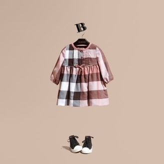 Burberry Check Cotton Flannel Dress With Bow Detail $195 thestylecure.com