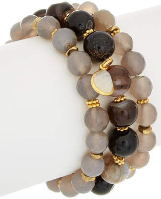 Rachel Reinhardt Set Of 3 14K Plated Agate & Moonstone Stretch Bracelets