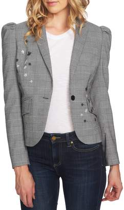 CeCe Glen Plaid Embroidered Detail Puff Sleeve Jacket