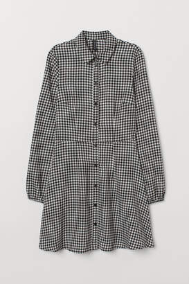 H&M Patterned Shirt Dress - White