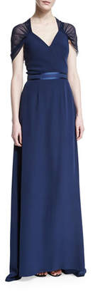 Kay Unger New York Short-Sleeve Butterfly-Back Gown, Navy $490 thestylecure.com