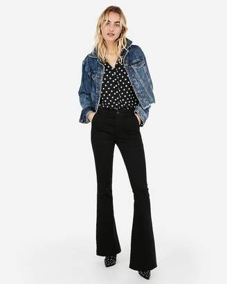 Express Polka Dot Button Front Chelsea Popover