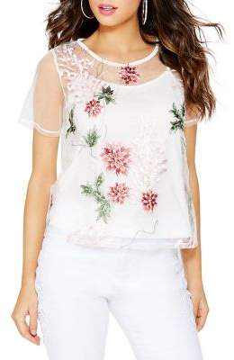 Quiz Floral-Embroidered Mesh Top
