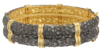 Freida Rothman 14K Gold & Rhodium Plated Sterling Silver Contemporary Deco Textured Bangle