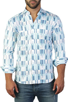 Maceoo Shaped-Fit Luxor Geometric Verticality Sport Shirt