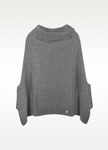 Roberto Cavalli Logo Wool Poncho