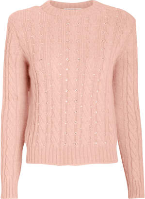 Philosophy di Lorenzo Serafini Crystal Embellished Cable Knit Sweater