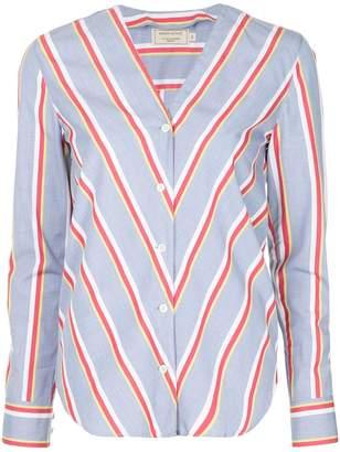 MAISON KITSUNÉ contrast stripe blouse