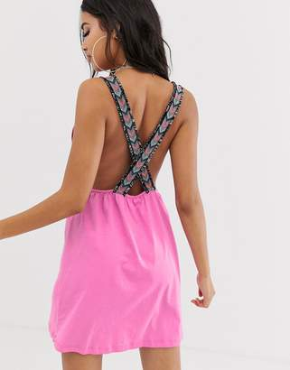 Asos Design DESIGN jersey beach sundress with plunge neck & aztec tape straps