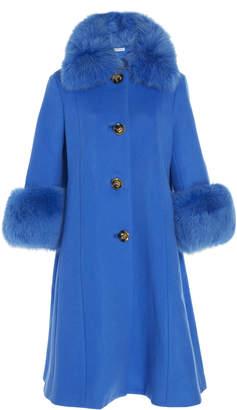 Saks Potts Yvonne Fur-Trimmed Wool Coat Size: 1