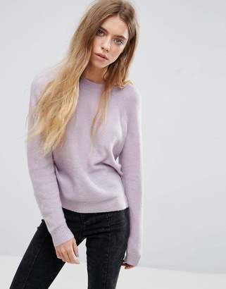 Asos DESIGN Sweater In Fluffy Yarn With Crew Neck