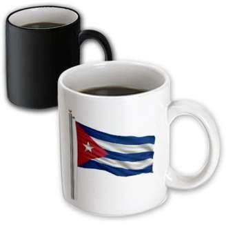3dRose Flag of Cuba on a flag pole over white Cuban, Magic Transforming Mug, 11oz