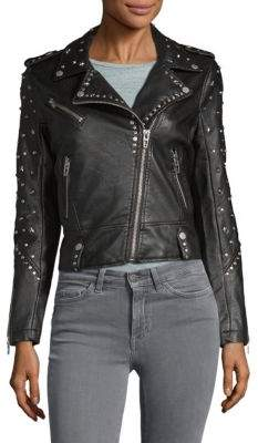 Blank NYC Studded Faux-Leather Jacket