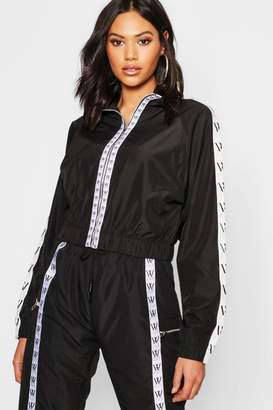 boohoo Mono Sports Tape Cropped Jacket