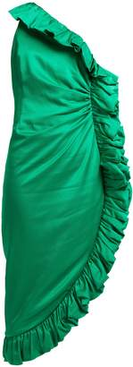 ATTICO One-shoulder ruffle-trimmed satin dress
