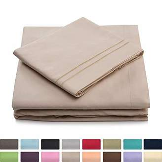 +Hotel by K-bros&Co Cosy House Collection Queen Size Bed Sheets - Cream Luxury Sheet Set - Deep Pocket - Super Soft Hotel Bedding - Cool & Wrinkle Free - 1 Fitted