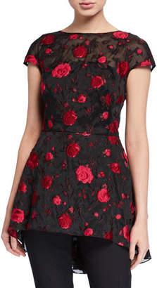 Lela Rose Floral Embroidered Open-Back Evening Top