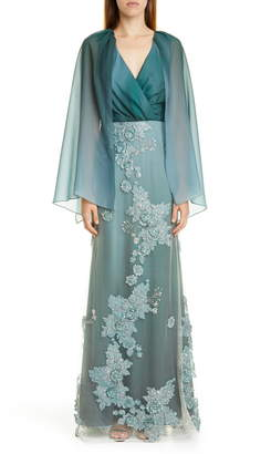 PatBO Ombre Cape Effect Gown