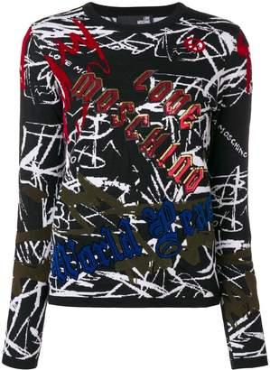Love Moschino graffiti print jumper