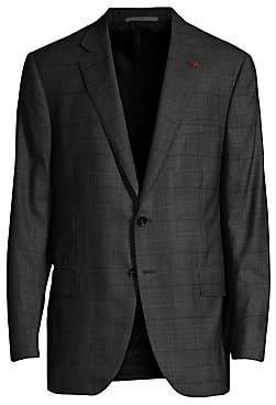 Isaia Men's Regular-Fit Check Wool Jacket