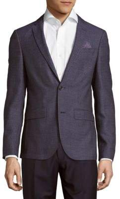 Sand Slim-Fit Wool Dot Texture Sportcoat