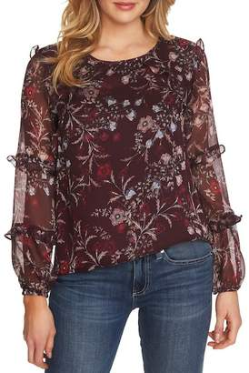 Cynthia Steffe CeCe by Floral Mystery Tiered Ruffle Blouse (Plus Size)