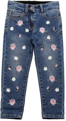 MonnaLisa Floral Denim Effect Cotton Sweatpants