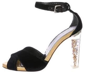 Saint Laurent Velvet Crossover Sandals