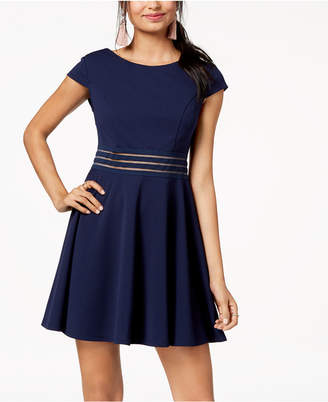 City Studios Juniors' Illusion-Stripe Fit & Flare Dress