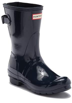 Hunter Short Adjustable Back Strap Glossy Rain Boot