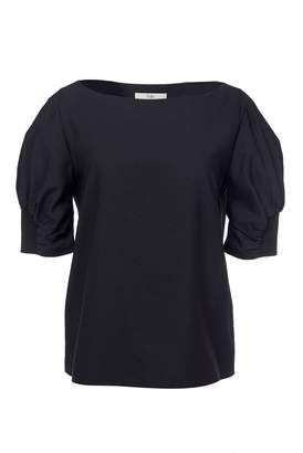 Tibi Short Sleeve Shirred Top