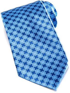 Stefano Ricci Linked Tiles Silk Tie, Blue