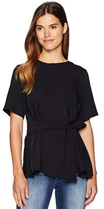 Nine West Women's Short Sleeve Blouse with Sash