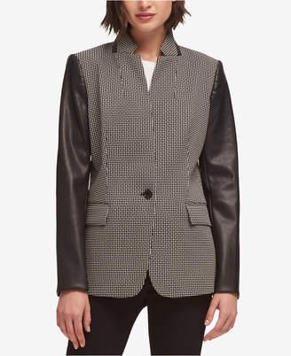 DKNY Faux-Leather-Sleeve Blazer