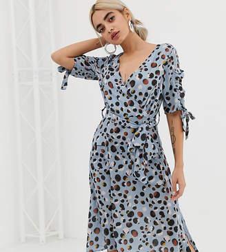 Lost Ink Petite Midi Dress With Tie Sleeves In Spot Leopard Print