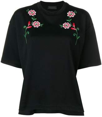 Diesel Black Gold flower embroidery T-shirt