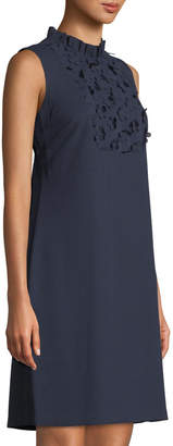 Karl Lagerfeld Paris Sleeveless Crepe Sheath Dress with Floral Lace Details