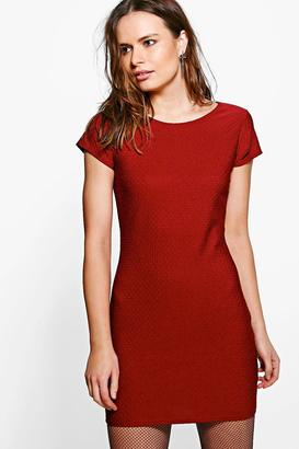boohoo Kristen Jaquard Short Sleeve Bodycon Dress $18 thestylecure.com
