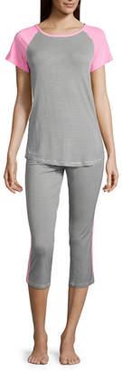 Ambrielle Short Sleeve Tee and Capri Pajama Set