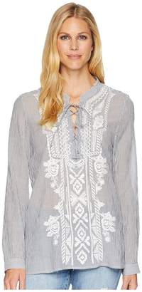 True Grit Dylan by Artisan Lace-Up Stripe Long Sleeve Blouse with White Embroidery Women's Blouse