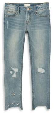 Hudson Girl's Faux Pearl Cropped Jeans