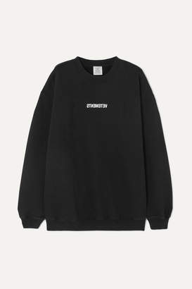 Vetements Printed Cotton-jersey Sweatshirt - Black