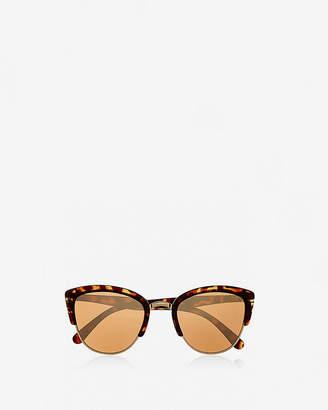 Express Tortoise Heavy Brow Cat Eye Sunglasses