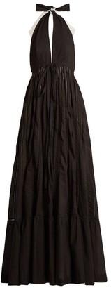 Kalita - Rooftop Runway Cotton Halter Neck Maxi Dress - Womens - Black