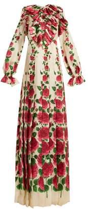 Gucci - Le Jardin De Rose Silk Twill Dress - Womens - Ivory Multi