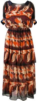 Fendi parakeet print long dress