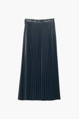 Genuine People High Waist Faux Leather Pleated Skirt