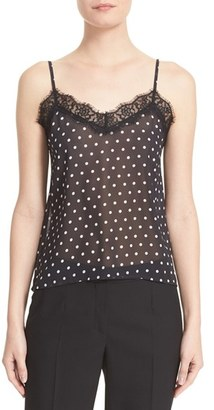 Women's The Kooples Lace Trim Polka Dot Camisole $195 thestylecure.com