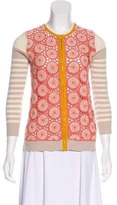 Tory Burch Crochet Long Sleeve Cardigan