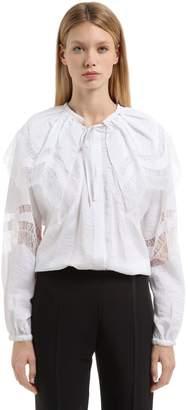 Nina Ricci Embroidered Ruffled Silk Parachute Shirt